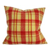 Image of Yellow With Red Stripe Plaid Pillow For Sale