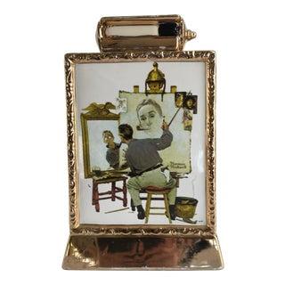 Vintage Norman Rockwell 23k Gold Decanter For Sale