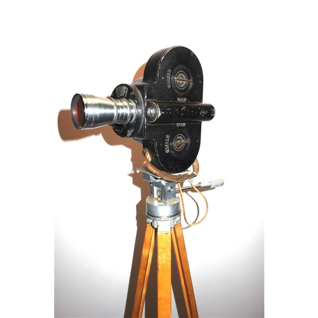 Americana Hollywood Early 20th Century Movie Camera With Head and Wood Tripod Legs For Sale - Image 3 of 7