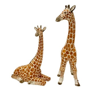 Vintage Italian Hand Painted Giraffes - A Pair
