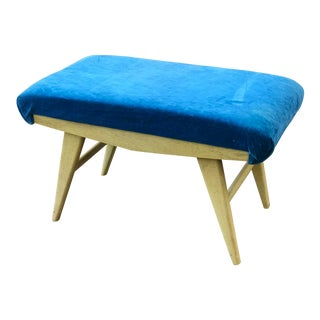 Vintage Mid-Century Blue Bench For Sale