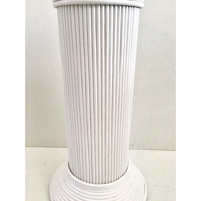 Wood Pencil Reed Rattan Cocktail Table in White Lacquer For Sale - Image 7 of 9