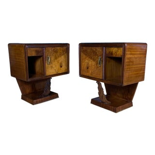 1930s Continental Rootwood & Mahogany Nightstands - a Pair For Sale