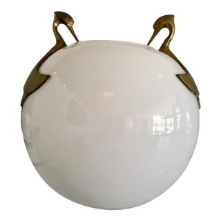 Vintage White Glass Orb Vase With Brass Birds For Sale