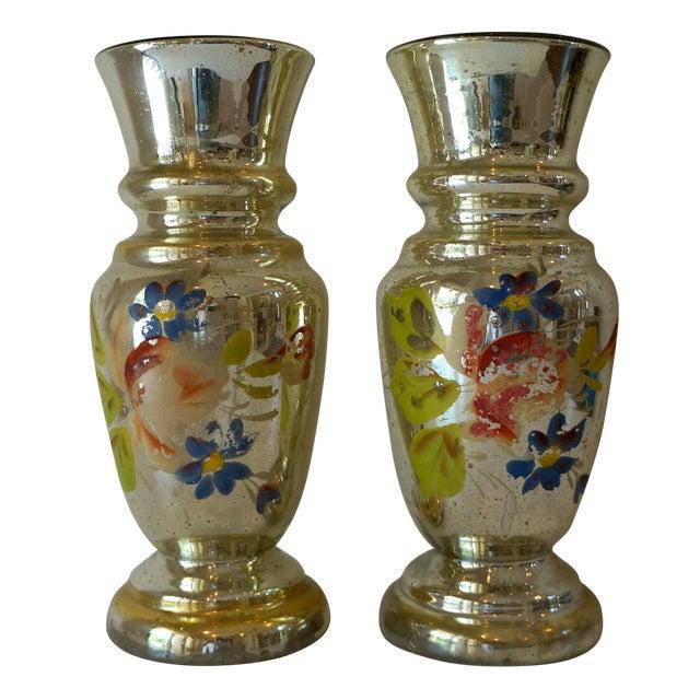 Vintage Handpainted Mercury Glass Vases - Pair For Sale