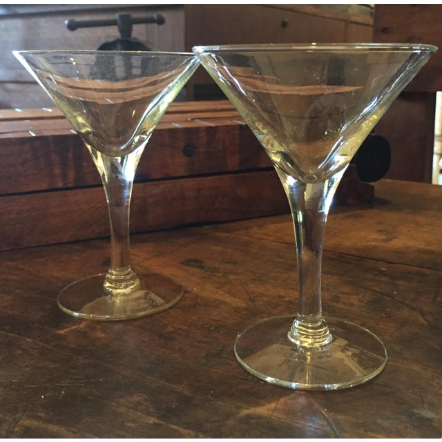 Mid-Century Modern Glass Martini Glasses - A Pair - Image 2 of 4