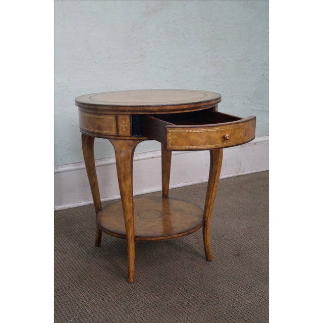 Maitland Smith Round Tooled Leather 1 Drawer Side Table AGE/COUNTRY OF ORIGIN: Approx 10 years, Philippines...