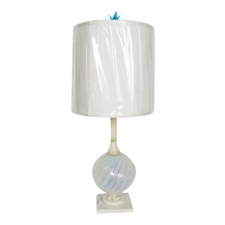 Mid-Century Murano Glass and Marble Table Lamp For Sale