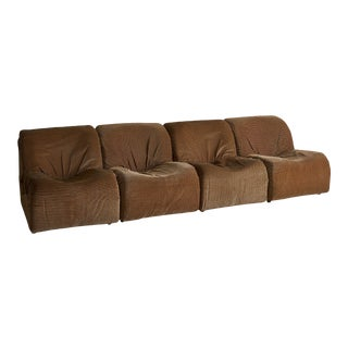 Italian Mid Century Modular 4-Piece Sofa or Set of 4 Lounge Chairs For Sale