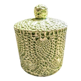 Vintage Pale Mint Green Ceramic Doily Lace Covered Single Toilet Paper Holder Cover For Sale