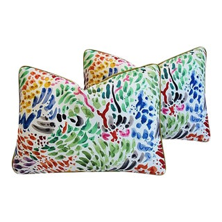 """Clarence House Fabric & Scalamandre Mohair Feather/Down Pillows 21"""" X 15"""" - Pair"""