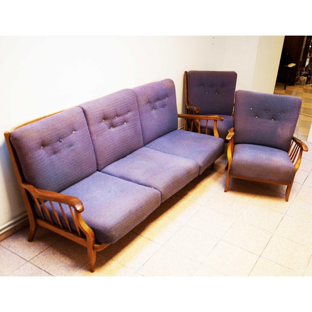 Purple living room set by Hans Wölfl - Set of 3 For Sale - Image 10 of 10
