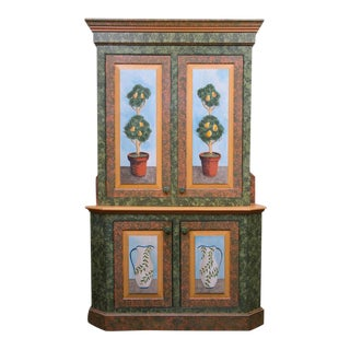 Whimsical Hand-Painted Solarium or Garden Room Cabinet For Sale