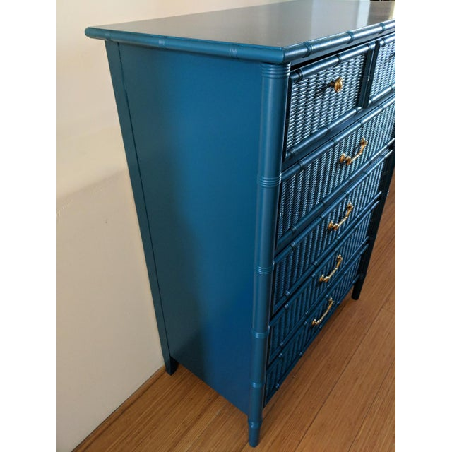 Dixie 1970s Dixie Faux Bamboo Highboy For Sale - Image 4 of 8