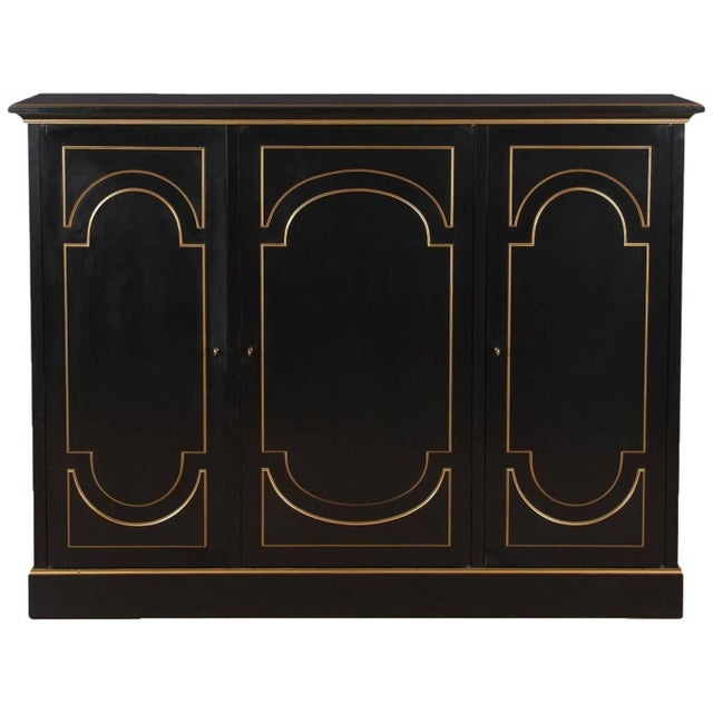 Black Neoclassical Maurice Hirsch Cabinet, 1950s For Sale - Image 8 of 8