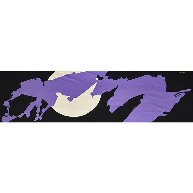 This gorgeous rectangular tapestry features a vibrant splash of purple and a white circle on a black background. One the...