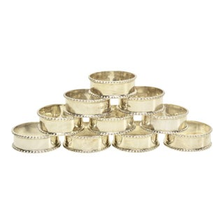 English Sterling Silver Napkin Rings, S/10 For Sale