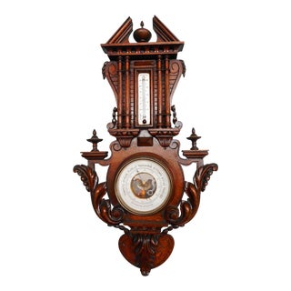 French Henri II Carved Walnut Barometer and Thermometer For Sale