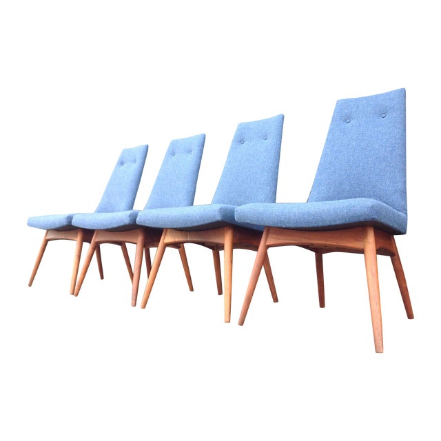 Blue Adrian Pearsall Dining Chairs - Set of 4 For Sale