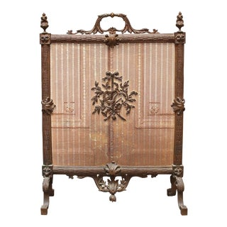 French Louis XVI Style Bronze Firescreen with Lyre Design For Sale