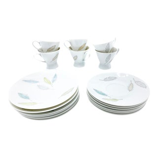 Mid-Century Modern Raymond Loewy Rosenthal Porcelain Moving Leaves Tea Service Set - 18 Pieces For Sale
