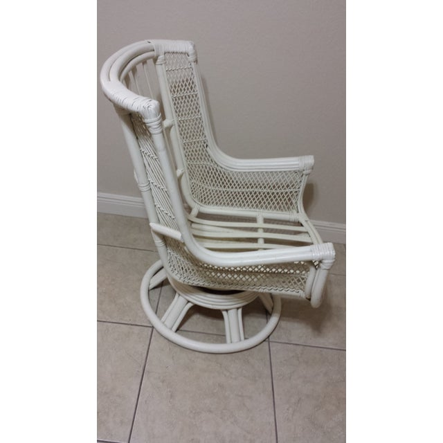 Yellow Vintage Swivel Egg Rattan Chair For Sale - Image 8 of 9