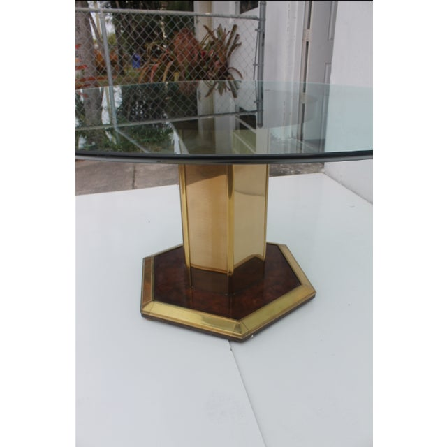 Gold Mastercraft Vintage Burl Wood & Brass Dining Table For Sale - Image 8 of 11