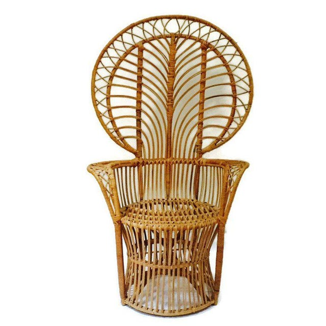 Mid Century Franco Albini Style Peacock Chair Bent Bamboo Fan Back Chair For Sale - Image 11 of 11