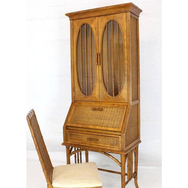 1970s Mid-Century Modern Faux Bamboo Rattan Light Fruitwood Finish Secretary Desk For Sale - Image 10 of 14