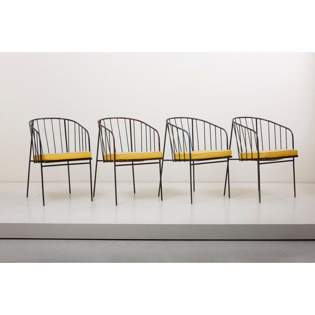 1950s Set of Four Iron Rod Outdoor Chairs by George Nelson for Arbuck, 1950s For Sale - Image 5 of 13