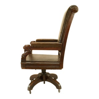 English Victorian Brown Leather Swivel Chair For Sale