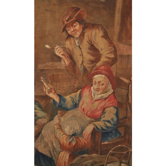Canvas Large 19th Century French Hand-Painted Canvas on Stretcher After David Teniers For Sale - Image 7 of 9