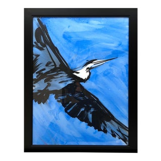 "Contemporary Ink Painting ""Great Blue 4"", Heron Series, by James Repton For Sale"