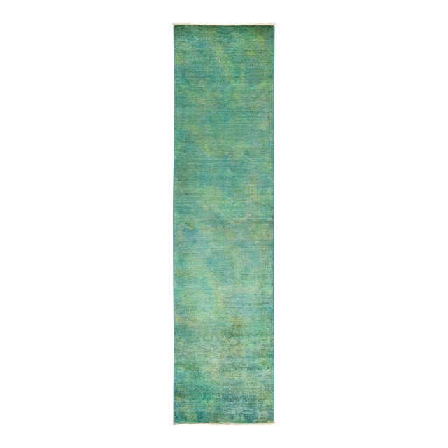 """Vibrance Hand Knotted Runner Rug - 2' 6"""" X 9' 10"""" For Sale"""