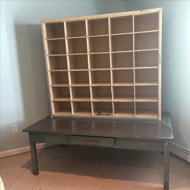 Industrial Vintage US Postal Metal Mail Sorting Cubby Desk For Sale - Image 3 of 11