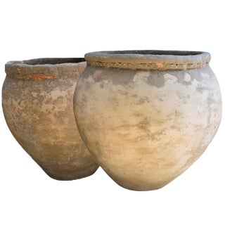 Antique Spanish Terracotta Urns - a Pair For Sale