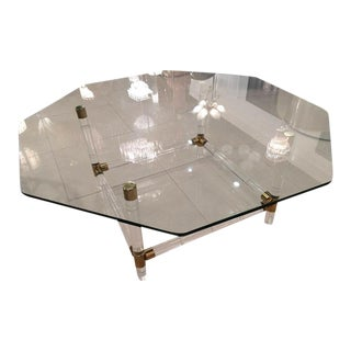 Charles Hollis Jones Brass & Lucite Faux Bamboo Coffee Table For Sale