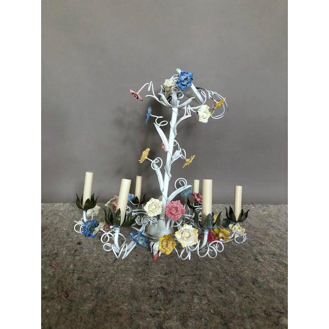1970s Vintage Italian Tole Floral Chandelier For Sale - Image 4 of 4