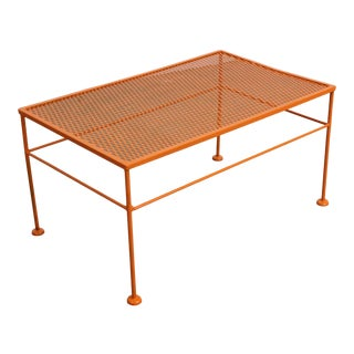 Vintage Mid-Century Modern Atomic Orange Metal Coffee Table For Sale