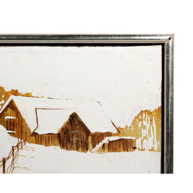 """Mid-Century Modern Mid-Century Winter Snow Farmhouse Small 11"""" Square Oil Painting - Signed & Frame For Sale - Image 3 of 5"""