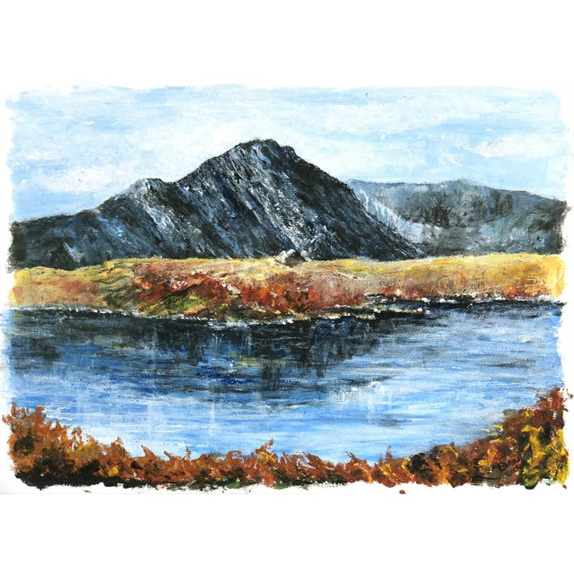 Mountaintop Lake Oil Painting - Image 1 of 4