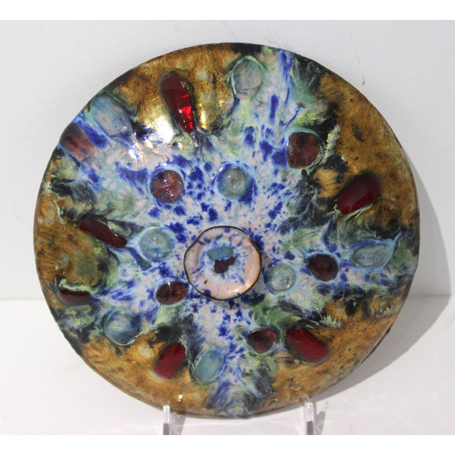 Abstract Mid-Century Artisan Copper Enamel on Wood Box and Dish by Esmaltes Capo - a Set of 2 For Sale - Image 3 of 10
