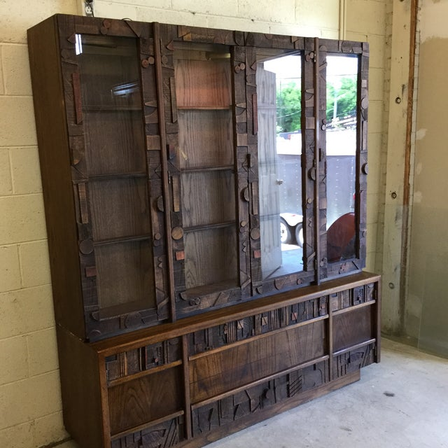 Brutalist Lane Brutalist Style Lighted China Cabinet For Sale - Image 3 of 10