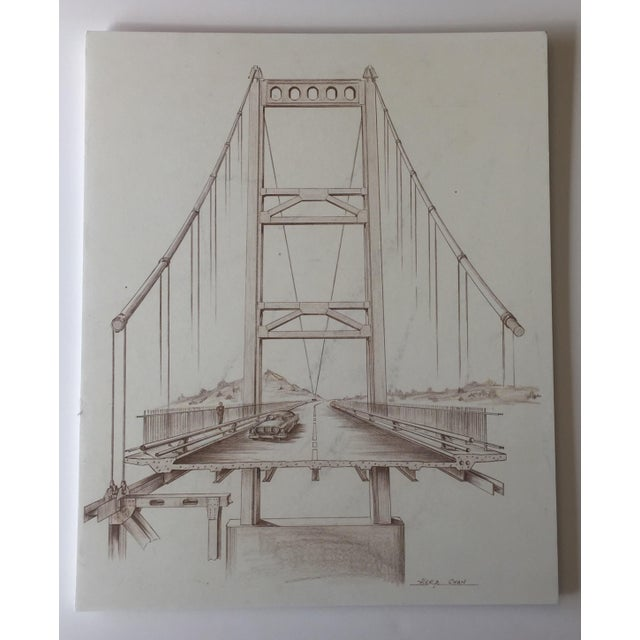 Mid-Century Golden Gate Bridge Architectural Sketch - Image 2 of 9