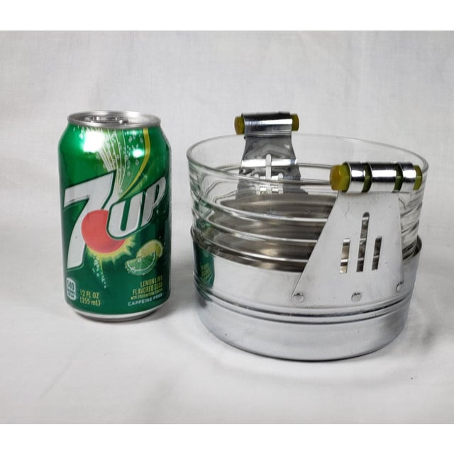 Chrome Art Deco Chrome Ice Bucket With Ribbed Glass Insert and Tongs For Sale - Image 8 of 9