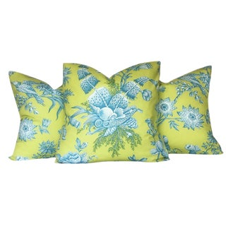 Brunschwig & Fils French Shell Toile Pillows - Set of 3 For Sale