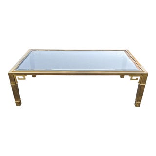 Hollywood Regency Bronze & Glass Top Coffee Table For Sale