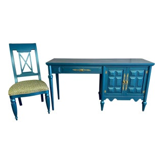 Vintage Stanley Teal Desk and Coordinating Chair Set - 2 Pieces For Sale