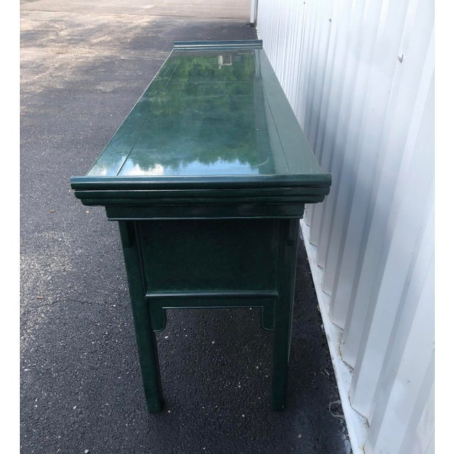 Century Furniture Lacquered Green Malachite Pagoda Console For Sale In Pittsburgh - Image 6 of 12