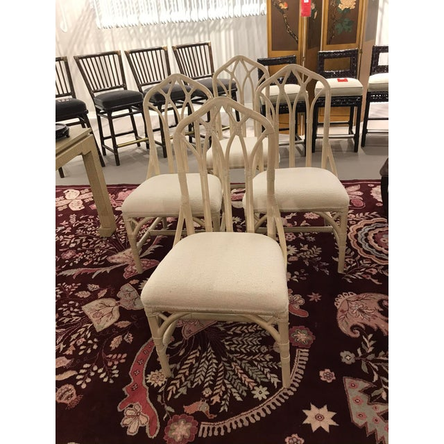 Wood 1960s Off White Rattan Cathedral Back Chairs - Set of 4 For Sale - Image 7 of 7